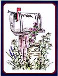 Sue Sommerville created and contributed this interesting mailbox drawing for the Rubber Stampings section's Welcome Card Swap. Note the excellent colouring. 