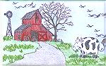 The orginal image of a small cow stamped by Joan Petty was sent on a postcard to Sue Sommerville who completed the picture.Cows ViewSue Sommerville/Joan Petty