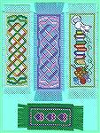Here's some more Cross Stitch Bookmarks from my post-Swap binge for gifts. My own designs except the kitty and yarn basket were adapted from a book of motifs; I added the bookstack (the BM is for a bo