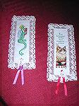 "These darling bookmarks were submitted by Colleen Poor in our 2004 Beverly Marchetti Memorial Bookmarks for Literacy Swap.  Both are from Leisure Arts Leaflet 2985, ""Book Marks Galore"", and"
