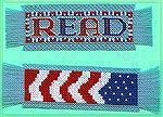 Two of Valerie Vann's submissions in our 2004 Beverly Marchetti Memorial Bookmarks for Literacy Swap.  These are Valerie's own design, in counted cross stitch.