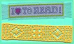 More bookmarks submitted by Valerie Vann in our 2004 Beverly Marchetti Bookmarks for Literacy Swap.  The top one is Valerie's own design in counted cross stitch, and the bottom one is lacis (filet cro