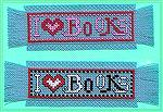 Still more bookmarks submitted by Valerie Vann for our 2004 Beverly Marchetti Memorial Bookmarks for Literacy Swap.  Counted cross stitch in Valerie's own design.