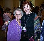 Here are Maryse Levenson and Ruth McGregor at the Convergence 2004 Fashion Show. Ruth's shawl is hand dyed, hand spun trilobal nylon.