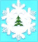 This is tiny little ornament done on linen with DMC threads on Kreinik #4 198 braid.   It is my ornament for January 2005.