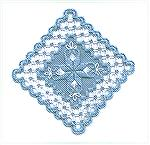 Hardanger ornament on blue linen with blue and white perle coton.  Designed by A Stitch in Time Designs and stitched by Karen Willett.