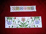 "These cross-stitched bookmarks are by Karen Willett, from our 2006 Bookmark Swap.  ""Spring"" is from Annalee Waite Designs, on linen with DMC floss, and ""Spring in the Garden"" is fr"