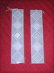 Wendy's bookmarks are parchment craft, from a design in a book by Pergamano.  From our 2006 Bookmark Swap.