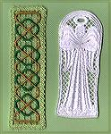 Bookmarks donated by Kyra Tenpenny. The bookmarks were machine embroideried. The white angel bookmark is a free download on http://www.myembroderyhaven.com/angels.html.  The second bookmark is geobm-f