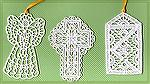 Bookmarks donated by Kyra Tenpenny. The bookmarks were machine embroideried. These bookmarks  are from a small lace colletion by Criswell.