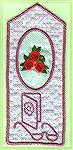 Bookmarks donated by Kyra Tenpenny. The bookmarks were machine embroideried. They are designed by Kyra Tenpenny using Pedesign and Loes Pre-Design program. The small roses are from a Cardnel collectio