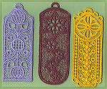 Bookmarks donated by Kyra Tenpenny. The bookmarks were machine embroideried. They are by http://www.oregonpatchworks.com  under embroidery collections Ace Point Designs.