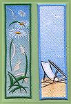 Bookmarks donated by Kyra Tenpenny. The bookmarks were machine embroidered. They are free designs from http://www.needlework.ru/bkeng.htm.