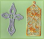Bookmarks donated by Kyra Tenpenny. The bookmarks were machine embroideried. The cross the from Dakota Collecables Christmas Free Standing Lace #970364. The butterfly bookmark is from their Lace #9703