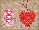 Bookmarks donated by Kyra Tenpenny. The bookmarks were machine embroidered. The bookmark with the three hearts was designed by Kyra Tenpenny using Babylocks Palette program. The large red heart is a d
