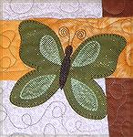 This is a close up of the appliqued butterfly on my quilt.