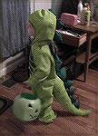 This is Eva in her Dino outfit. They put it on her and she wanted to go trick or treat.