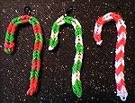 These adorable candy canes were designed and made by Patricia Tenpenny using loom bands.