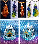 Patricia and I were having fun with some resin items we made the night before. Patricia did all the wire wrapping. I did use some acrylic paints on my castle. I got the castle mold from Sophie and Tof